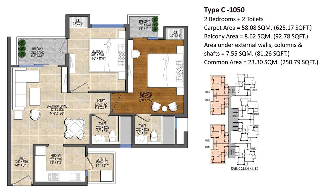 Ace Divino 2BHK Flats Floor Plan