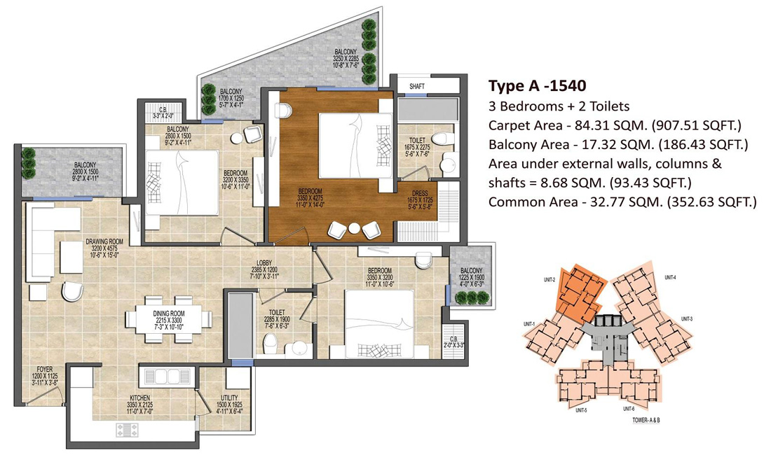 Ace Divino 3BHk Flats Floor Plan